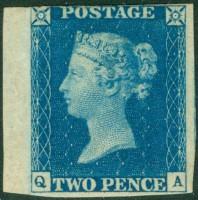 """Почтовая марка Великобритании """"Синий двухпенсовик"""""""