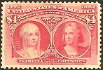 Почтовая марка США 1893 г. с изображением Колумба и Изабеллы