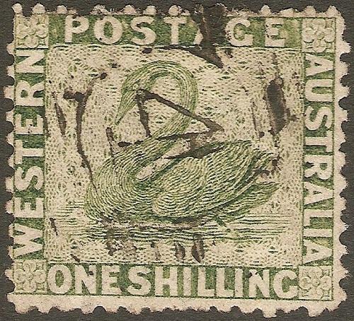 """почтовая марка Западной Австралии 1861 г. """"Зеленый лебедь"""""""