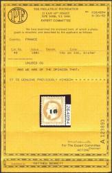 Сертификат почтовой марки Франции 1871 г. с надпечаткой