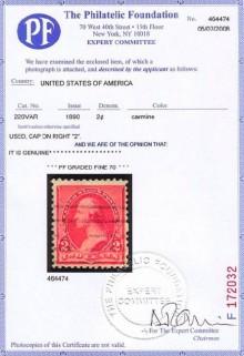 Сертификат почтовой марки США 1890 года с браком