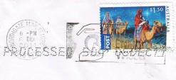 """Почтовая марка Австралии """"Караван"""" на конверте"""