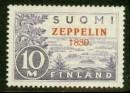 "Почтовая марка Финляндии с браком с надпечаткой ""Цеппелин 1830"""