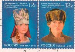 """Посткроссинг: почтовые марки """"головные уборы"""" на открытке"""