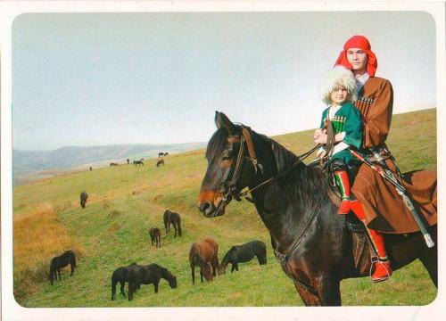 """Посткроссинг: почтовая открытка """"Джигиты на коне"""""""