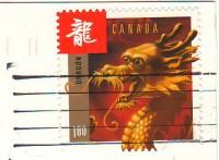 марка Канады с драконом на открытке