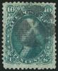 Зеленая почтовая марка США 1868 г. с вафелированием