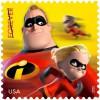 """Почтовая марка США 2012 года с героями мультфильма """"Суперсемейка"""""""