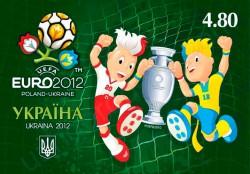 Почтовая марка Украины с талисманами Евро-2012 Славко и Славеком