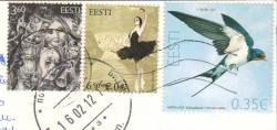Почтовые марки Эстонии на открытке
