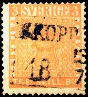 """Дорогая почтовая марка Швеции """"Желтый трехскиллинговик"""""""