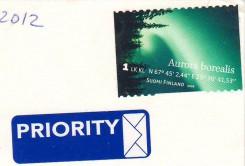 """Почтовая  марка Финляндии """"Северное сияние"""" на открытке"""