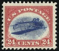 """Дорогая почтовая марка США """"Перевернутая Дженни"""""""