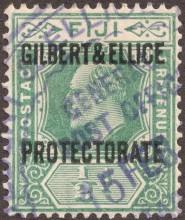 Почтовая марка колонии Великобритании с надпечаткой