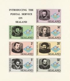 Первый выпуск почтовых марок Силенда с мореплавателями