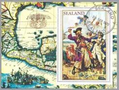 почтовый блок Силенда с пиратом Черной Бородой