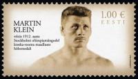 Почтовая марка Эстонии с олимпийским призером Мартином Клейном