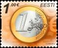 Почтовая марка Эстонии с монетой евро