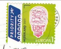"""Посткроссинг: почтовая марка Голландии """"Лампочка"""" на открытке"""