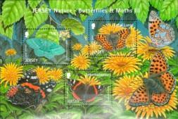 """Малый лист почтовых марок Джерси """"Бабочки"""""""
