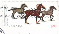 "Почтовая марка Канады ""Лошади"" на открытке"