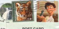 Почтовые марки США на открытке