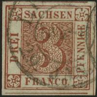 Первая почтовая марка Саксонии Саксонская тройка
