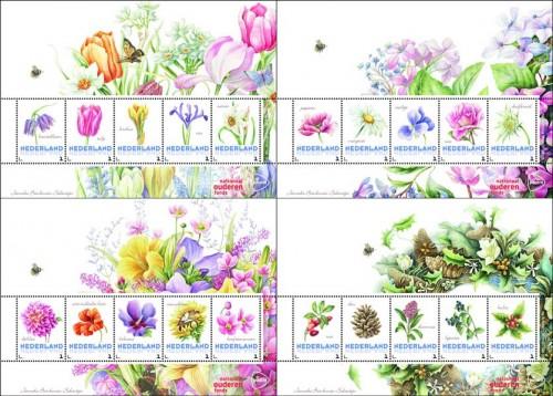 Цветы на марках Нидерландов