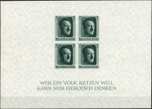 Почтовый блок Третьего рейха ко дню рождения Гитлера