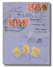 Почтовый конверт с марками Китая и США