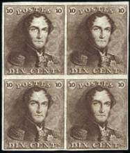 Первые почтовые марки Бельгии