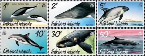 Почтовые марки Фолклендских островов с дельфинами и китами