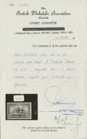 Сертификат почтовой марки Новой Гвинеи с надпечаткой