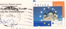 Почтовая марка Польши на открытке
