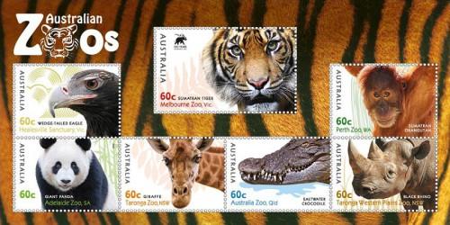 """Почтовые марки Австралии """"Австралийские зоопарки"""""""