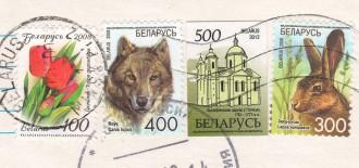 Почтовые марки Беларуси на открытке