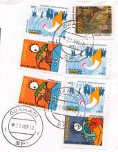Посткроссинг: марки Бразилии на конверте