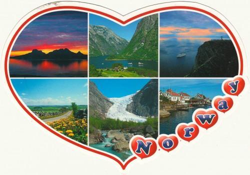 """Посткроссинг: почтовая открытка Норвегии """"Сердце"""""""