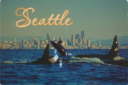 Открытка США - косатки в Сиэтле