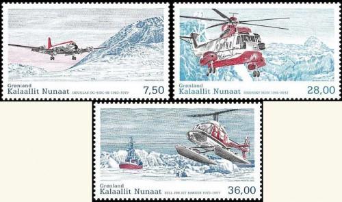Почтовые марки Гренландии с вертолетами
