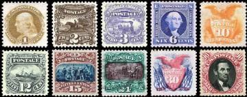 Серия иллюстрированных почтовых марок США 1869 года